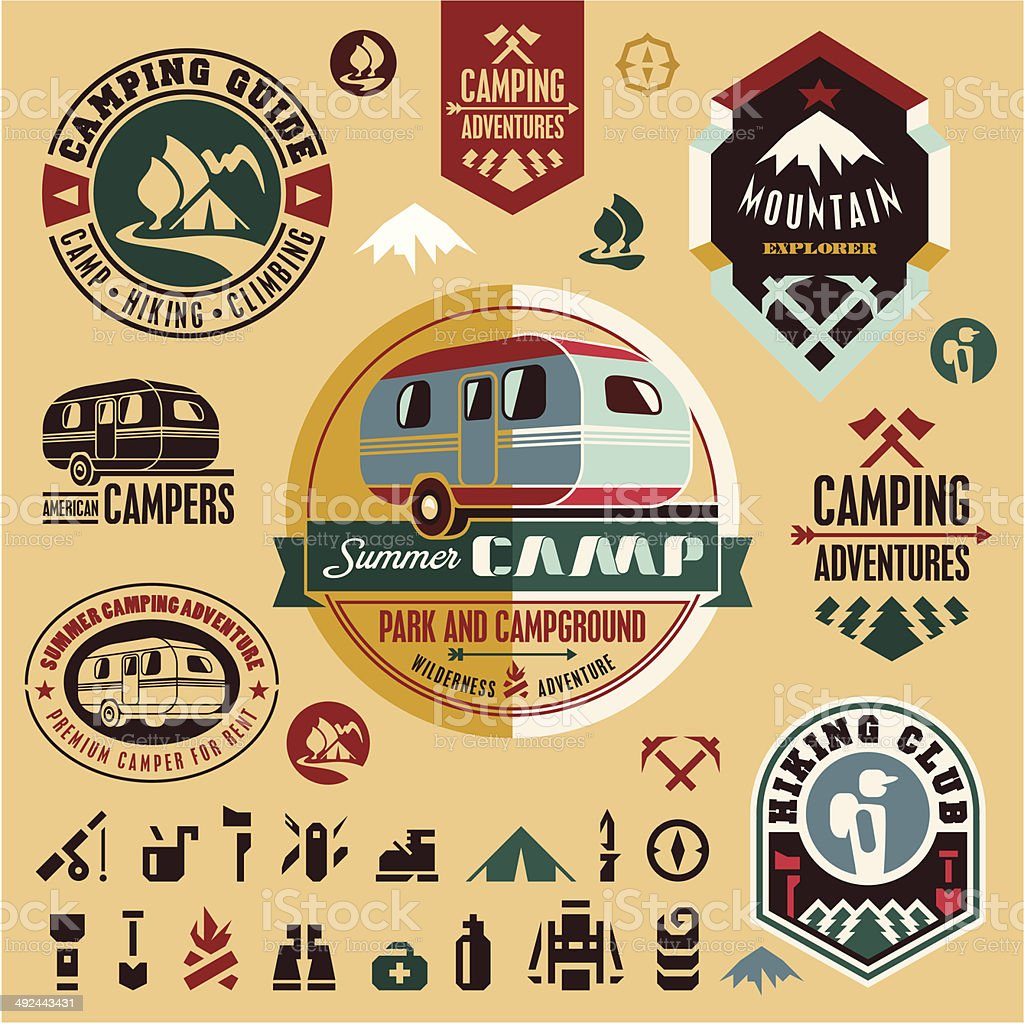 Camping icons. Camping equipment. Mountain. vector art illustration