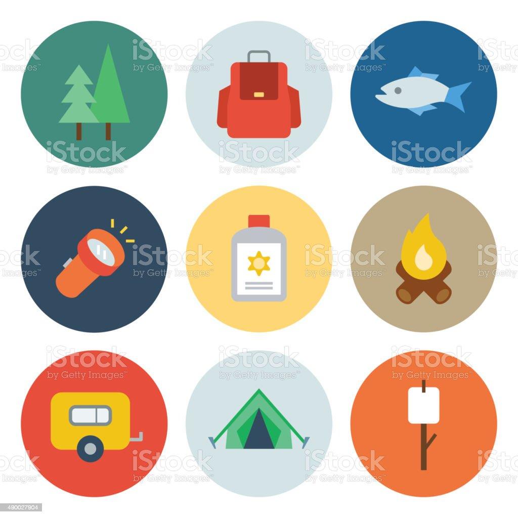 Camping Icons — Circle Series vector art illustration