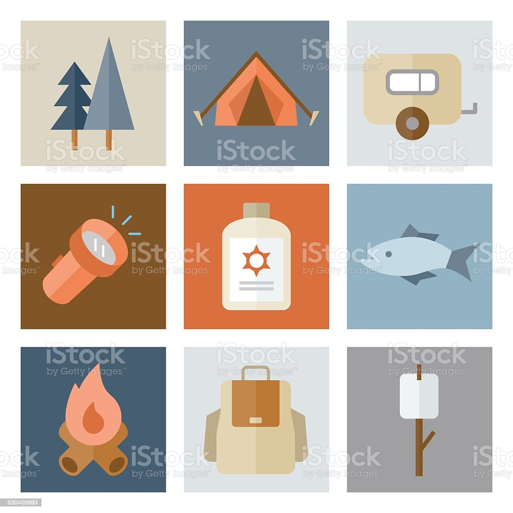 Camping Icons — Flat Series vector art illustration