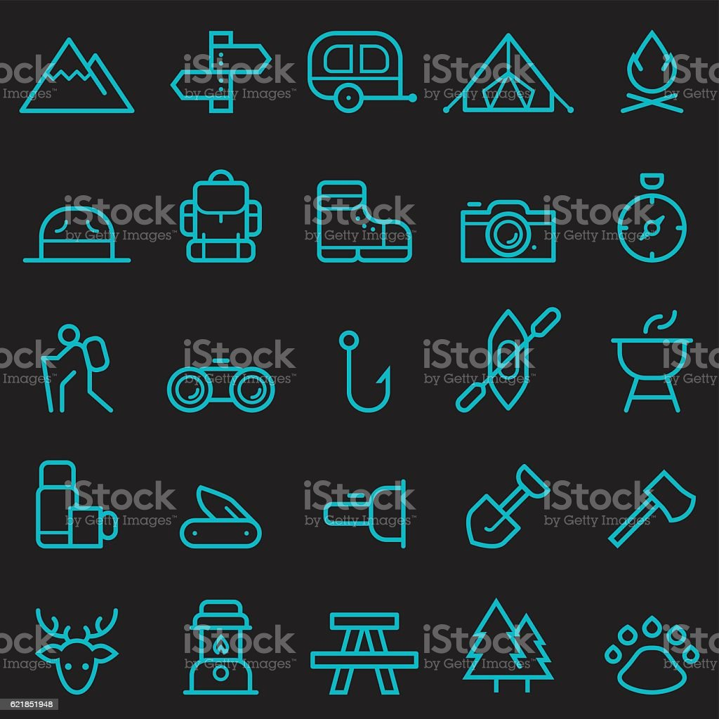 Camping Icons [Glow in the Dark] vector art illustration
