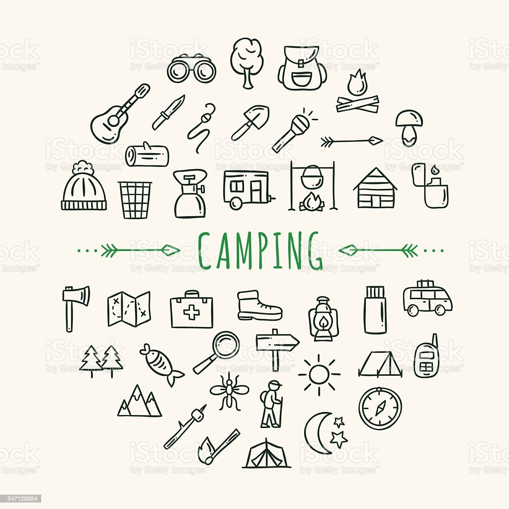 Camping icons hand drawn doodle symbols traveling, nature and camping vector art illustration