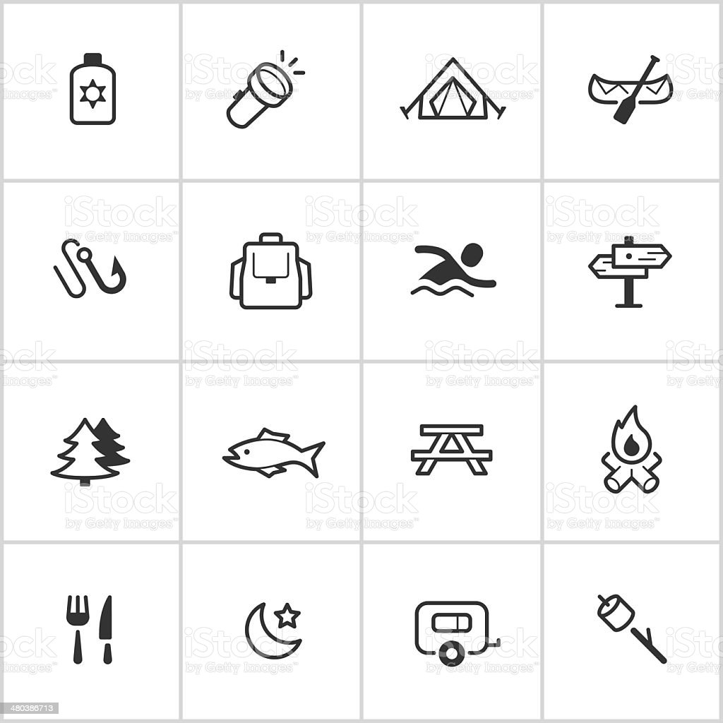 Camping Icons — Inky Series vector art illustration