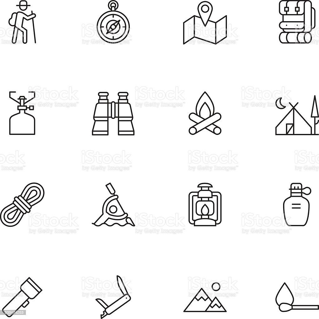 Camping Icons - Light vector art illustration