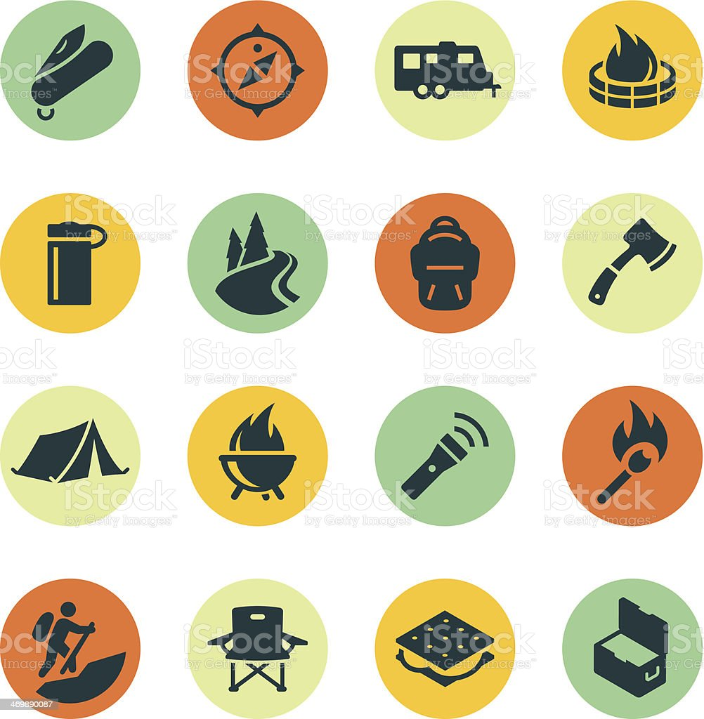 Camping Icons on Colored Circles vector art illustration