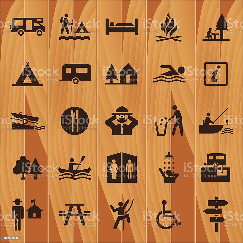 Camping Icons On Wooden Background vector art illustration