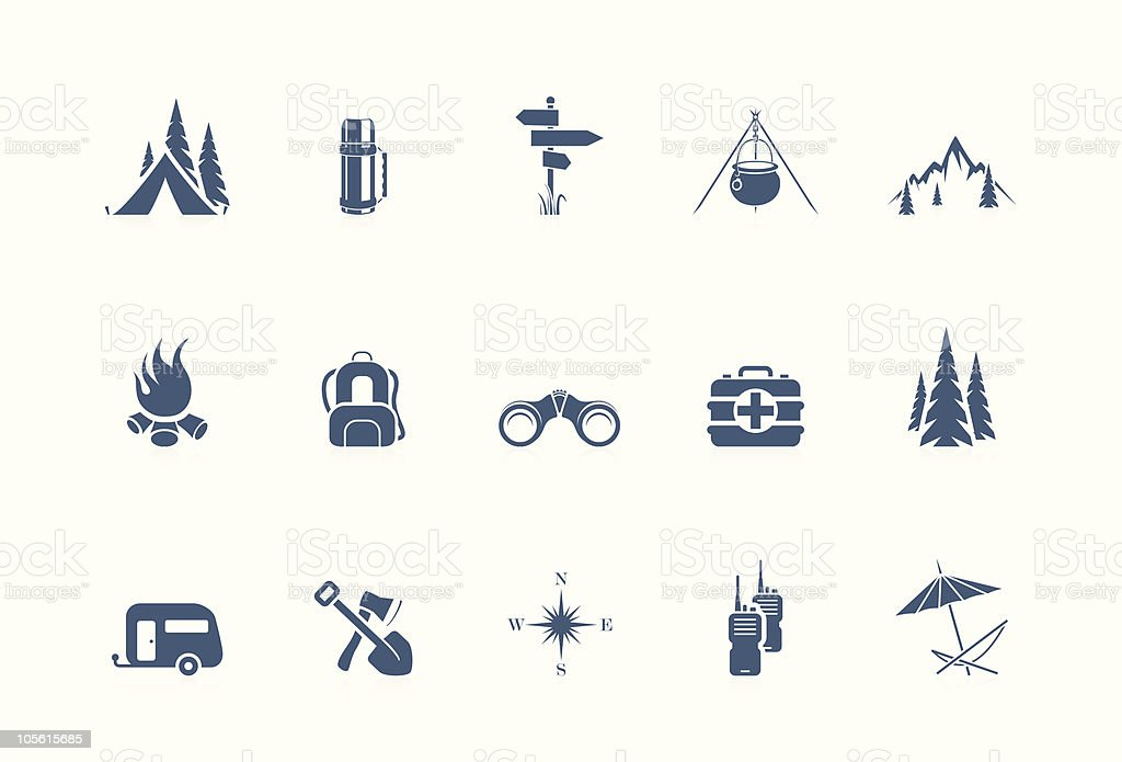 Camping icons   Piccolo series vector art illustration
