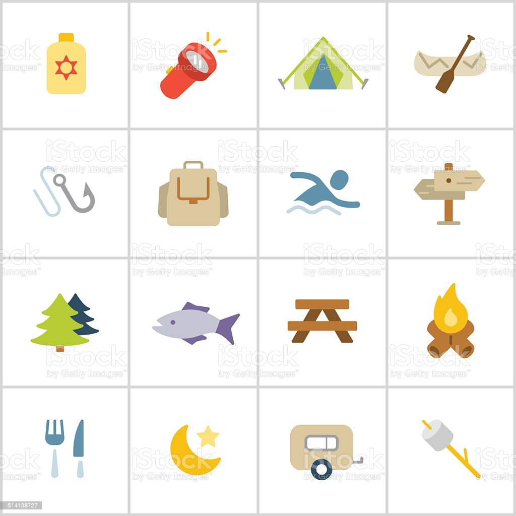 Camping Icons — Poly Series vector art illustration