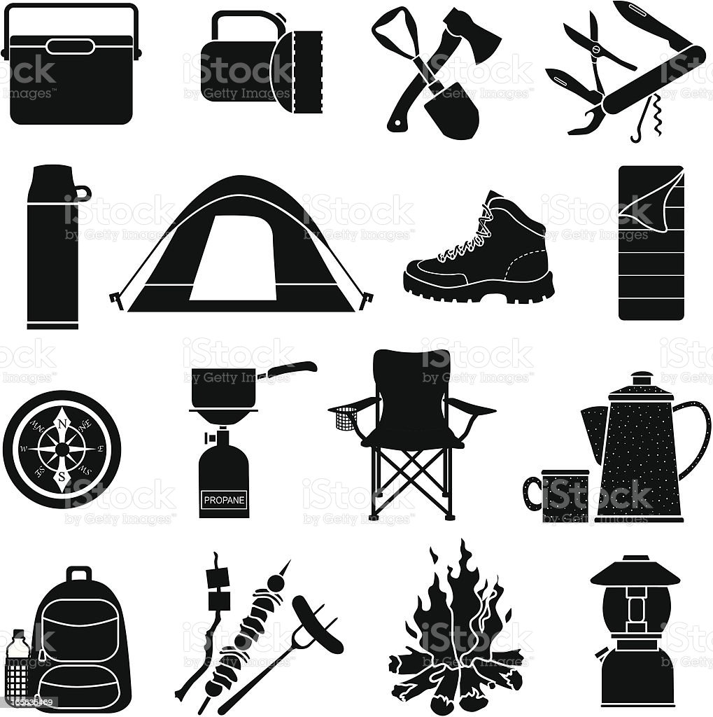camping icons vector art illustration