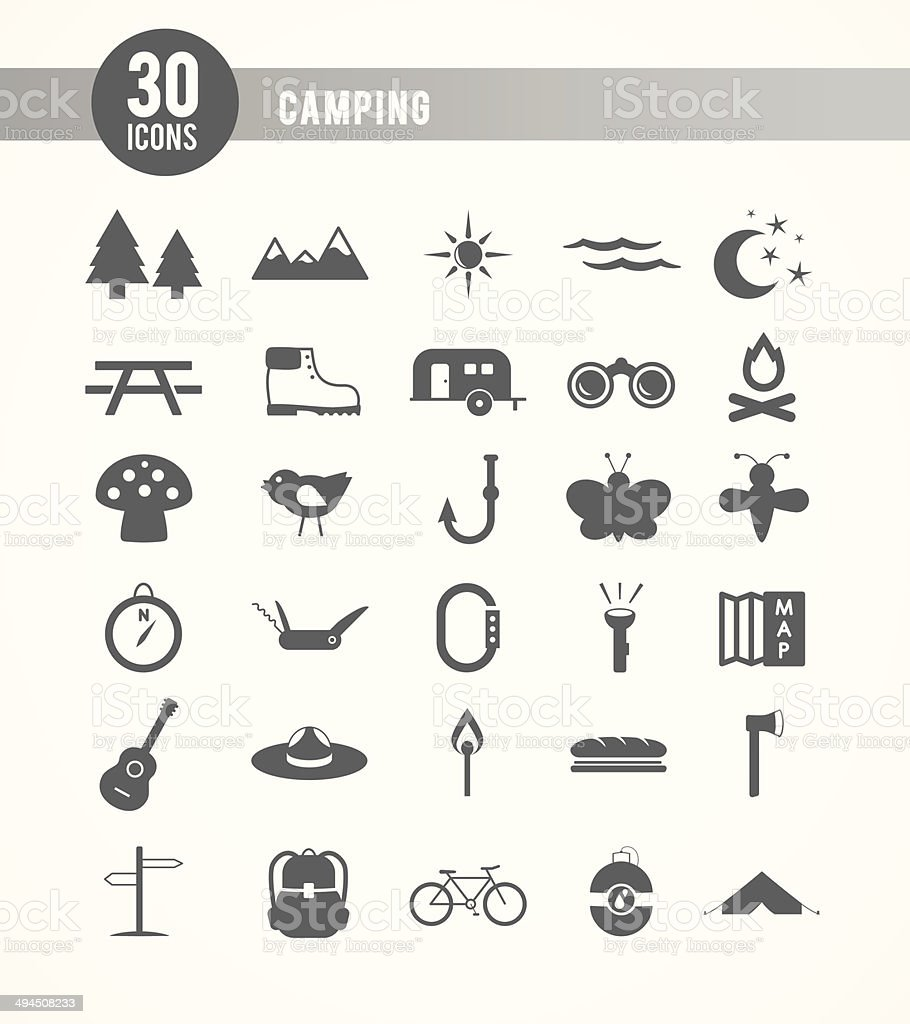 30 camping icons vector art illustration