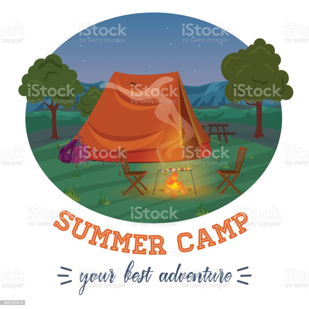 Camping illustration of summer forest in mountains, tent, fireplace with text in night. Vector illustration. vector art illustration