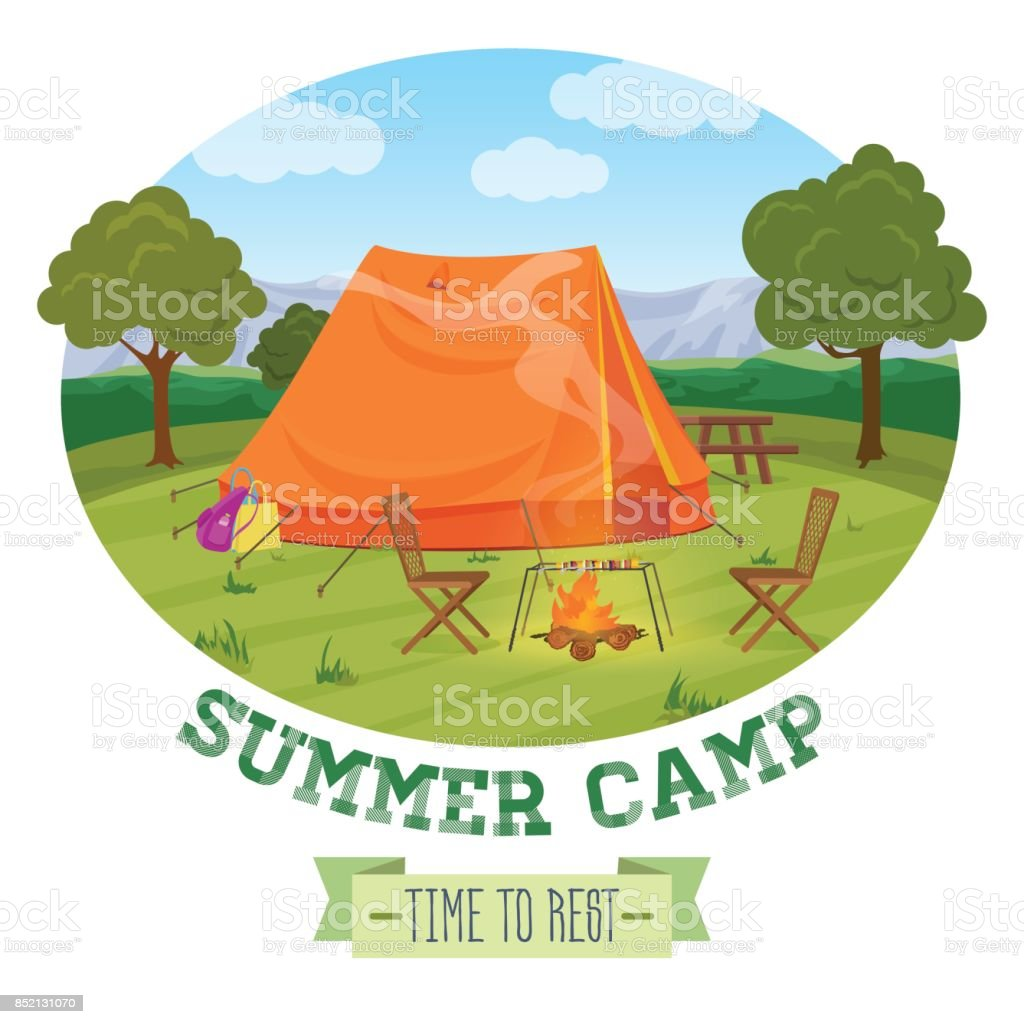 Camping illustration of summer forest in mountains, tent, fireplace with text. Vector illustration. vector art illustration