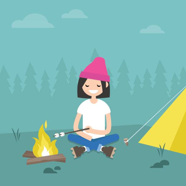 Camping In Forest Young Female Character Roasting Marshmallows On Fire Flat Editable Vector Illustration