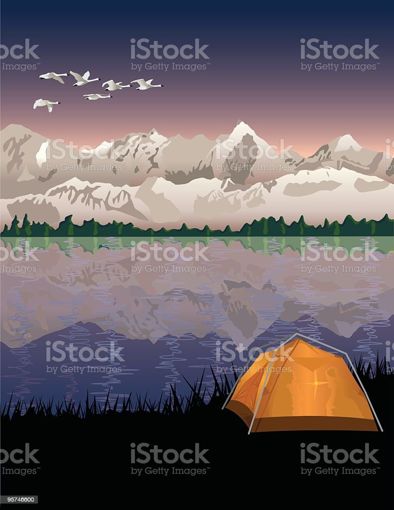 Camping in the Mountains royalty-free stock vector art