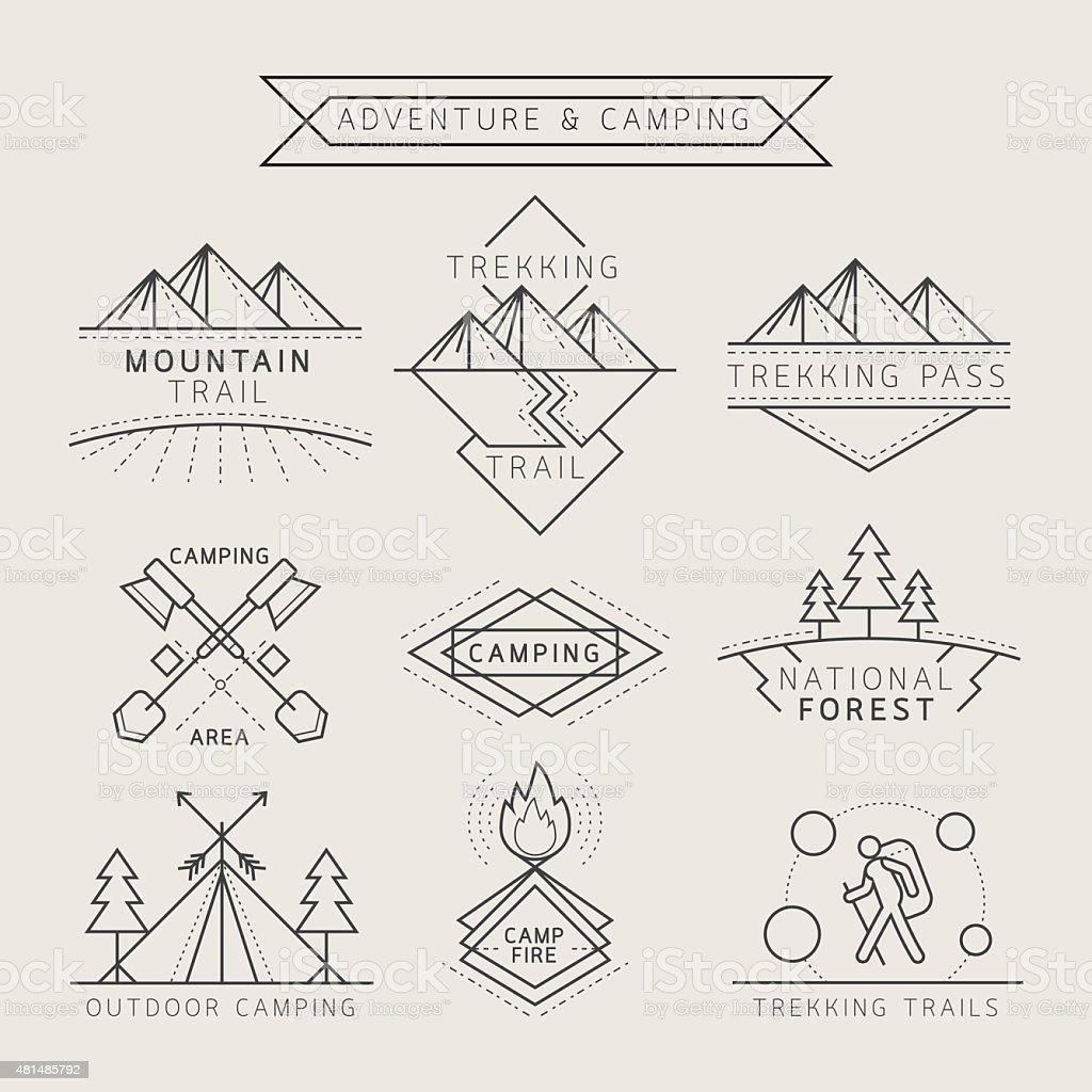 Camping Label and Badge Linear Style vector art illustration