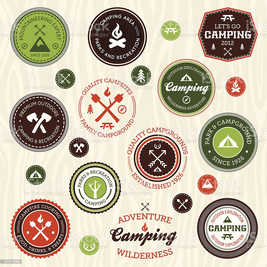 Camping labels royalty-free stock vector art