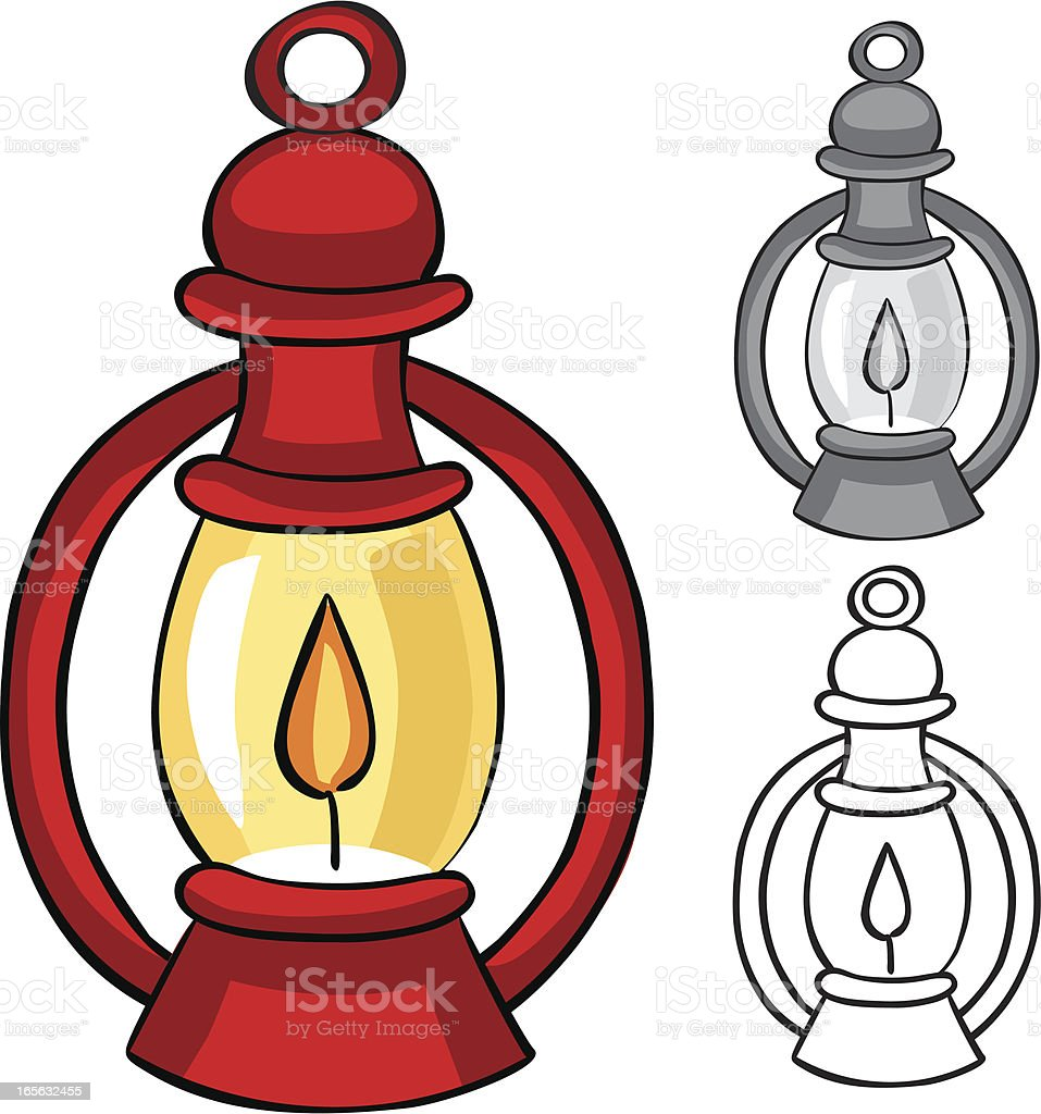 Camping Lantern: Color, Grayscale, and BW royalty-free stock vector art