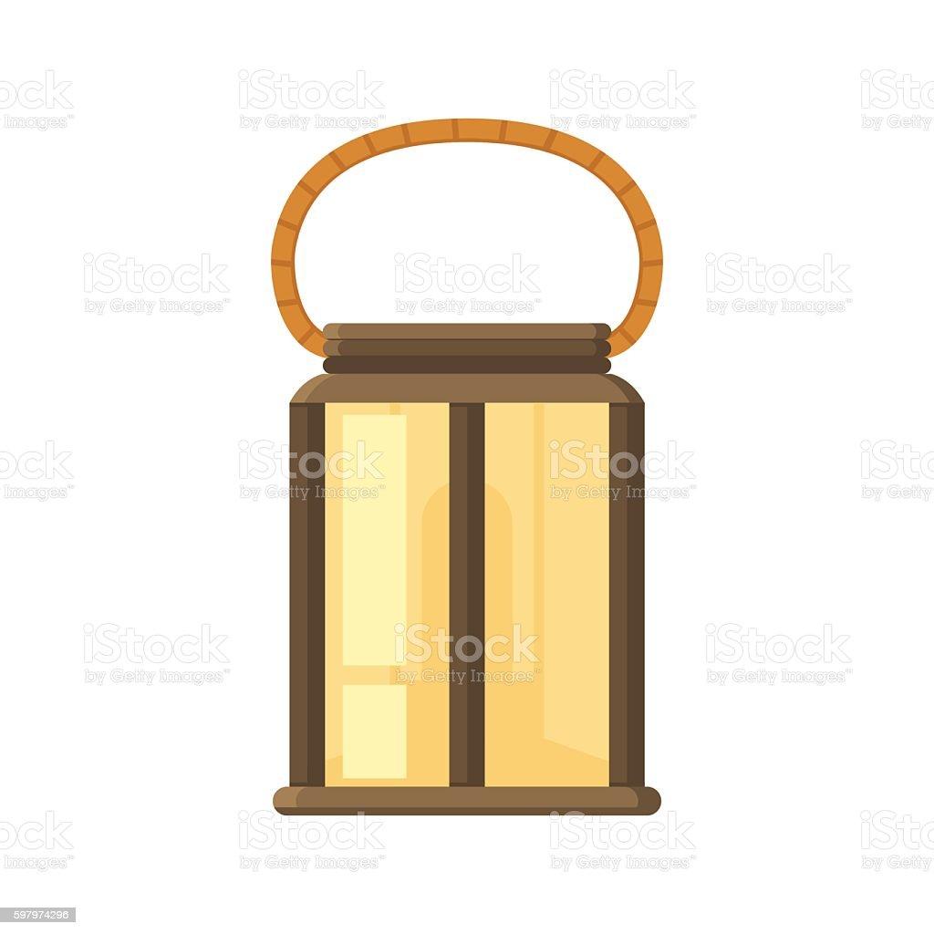 Camping Lantern or Gas Lamp vector art illustration