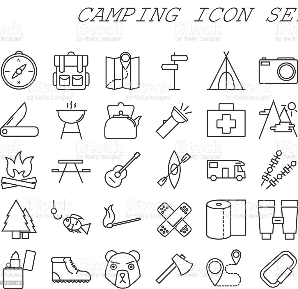 Camping line icons vector art illustration