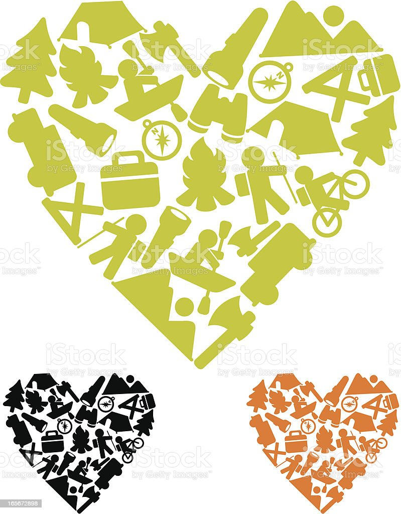 Camping love icons royalty-free stock vector art