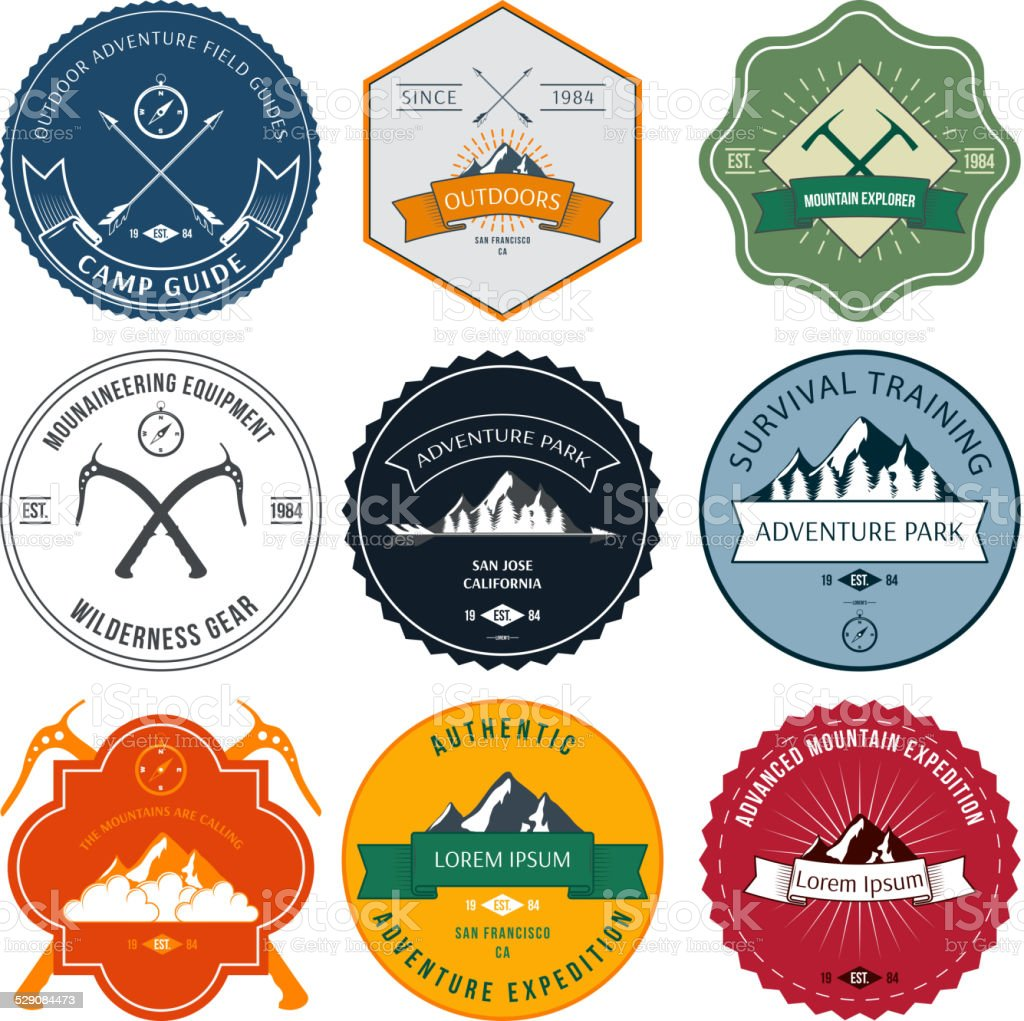 Camping mountain adventure hiking explorer equipment labels set isolated vector vector art illustration