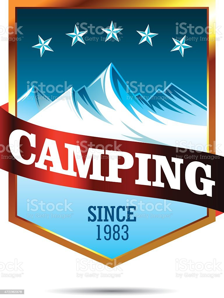 Camping Mountains Insignia vector art illustration