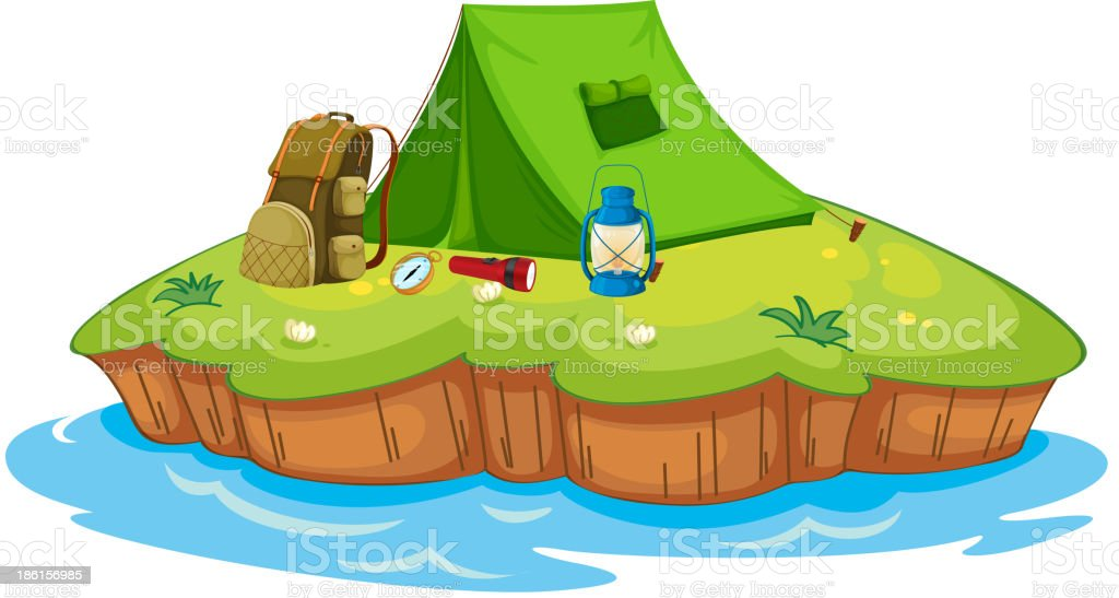 Camping on an island royalty-free stock vector art