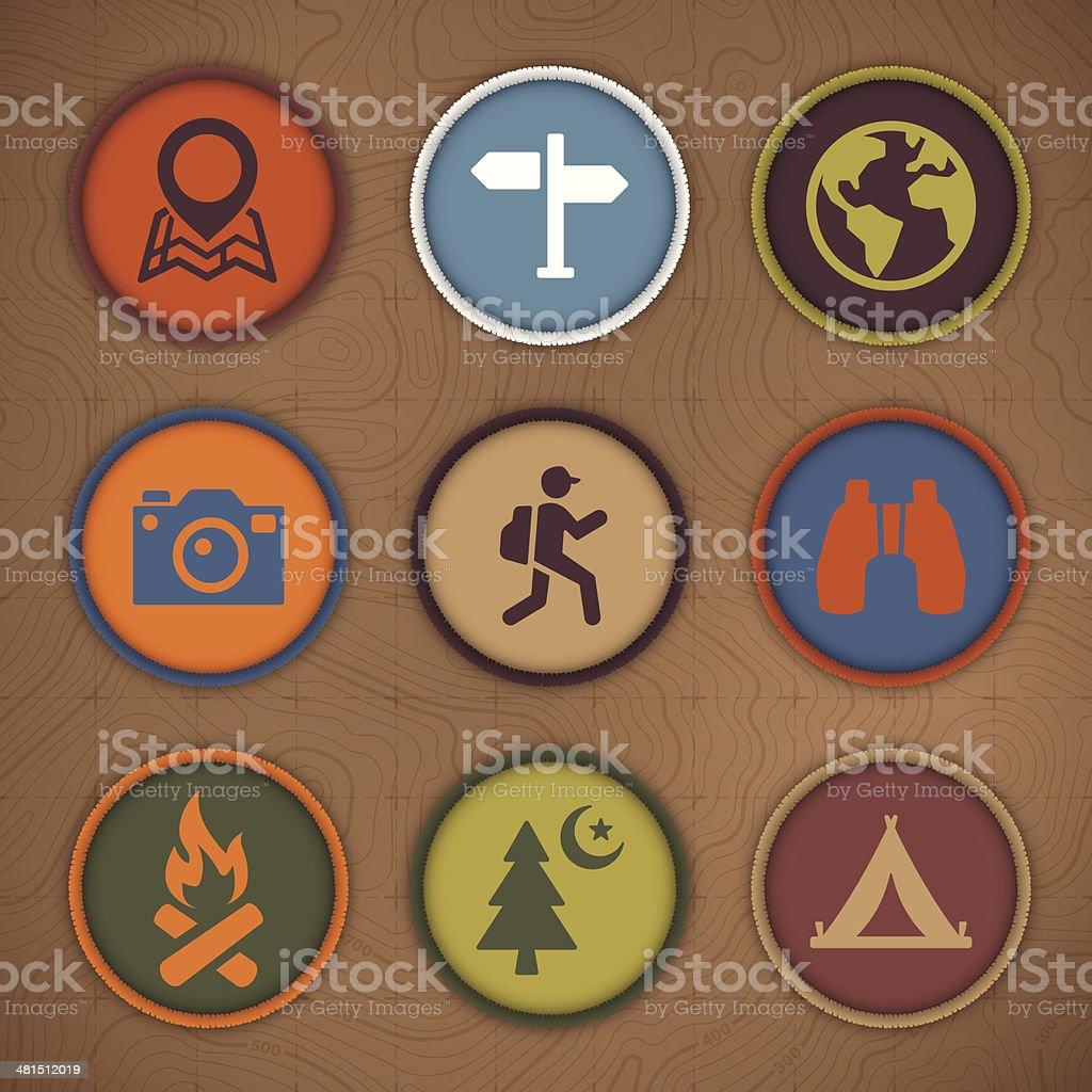 Camping Patch Symbols vector art illustration