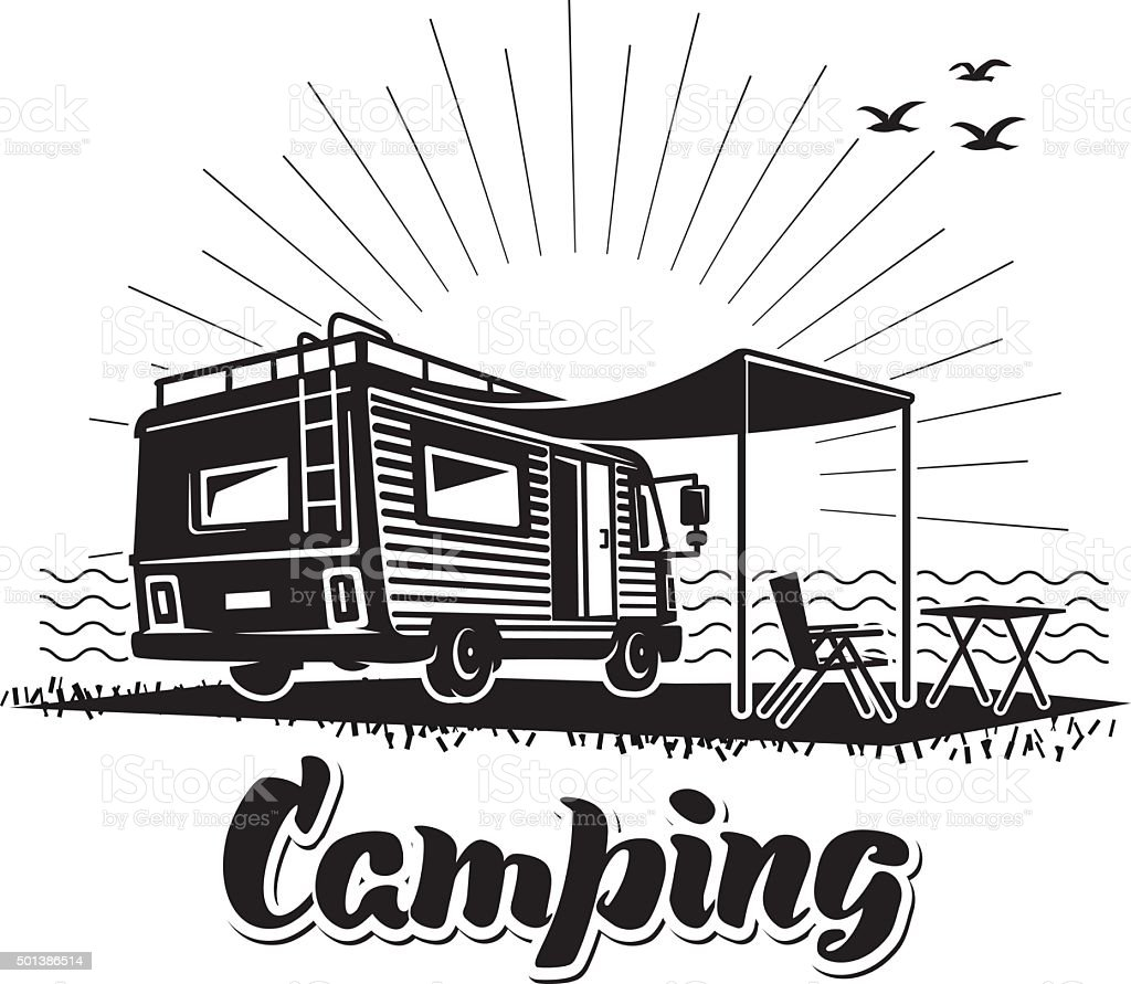 Camping. Recreation with family vector art illustration