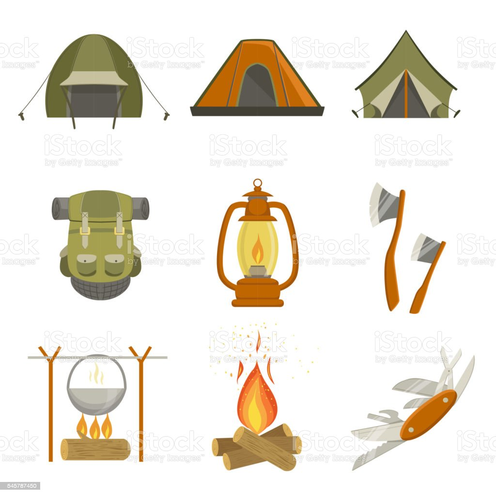 Camping Related Objects Set vector art illustration