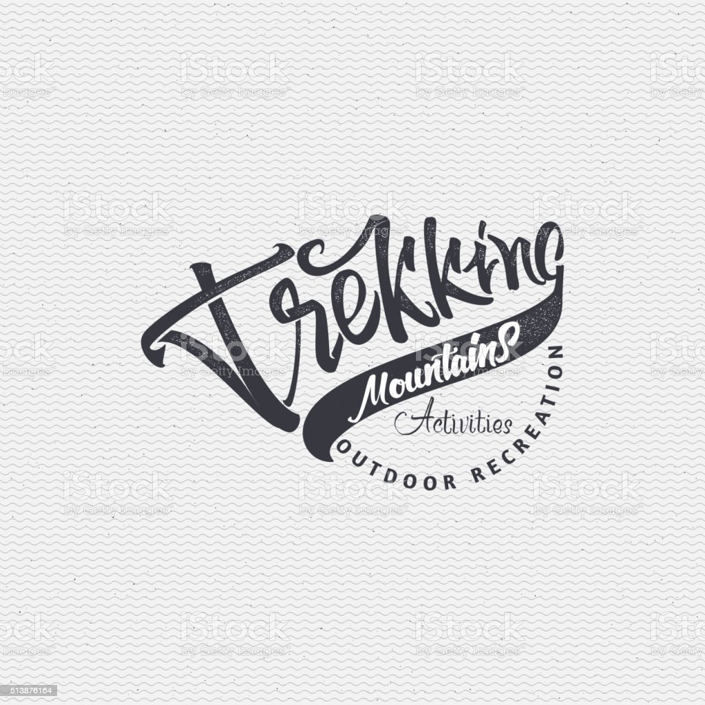 Camping sign handmade differences, made using calligraphy and lettering It vector art illustration