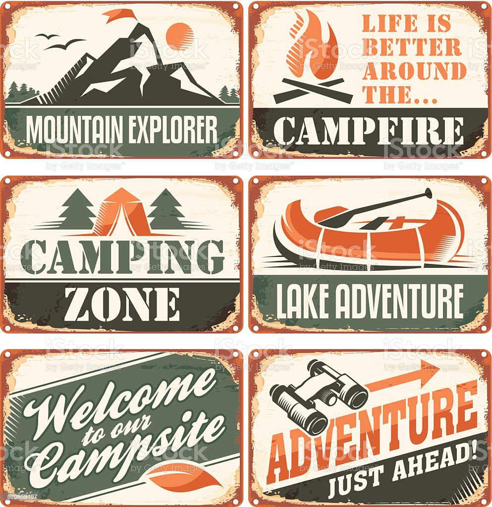Camping signs collection vector art illustration