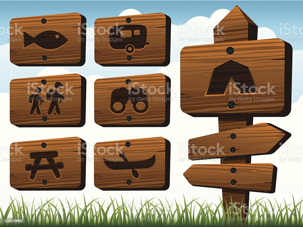 Camping Signs royalty-free stock vector art