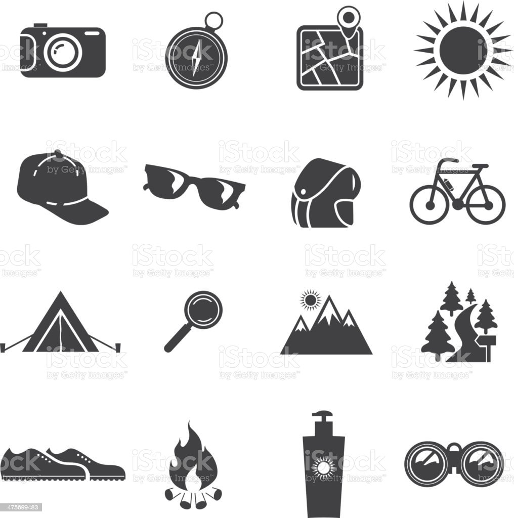 Camping Silhouette icons vector art illustration