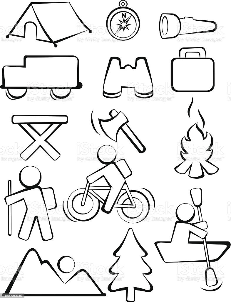 Camping sketch icons vector art illustration