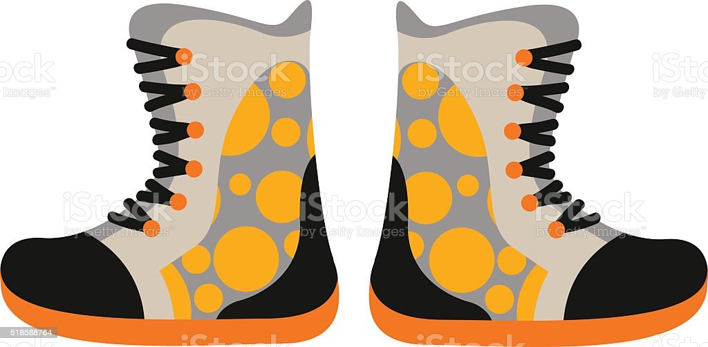 Camping sport walking boots in flat style vector vector art illustration