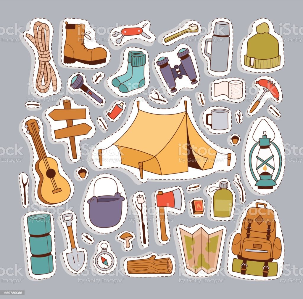 Camping stickers in hand drawn style vector vector art illustration