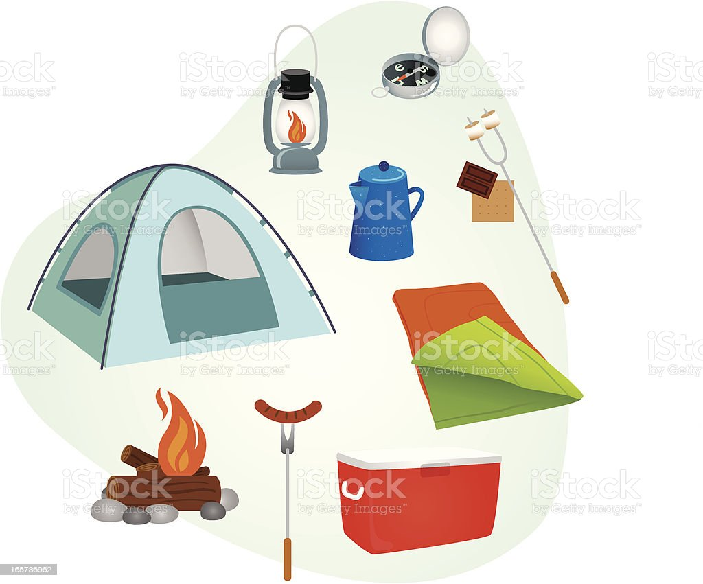 Camping Supplies vector art illustration
