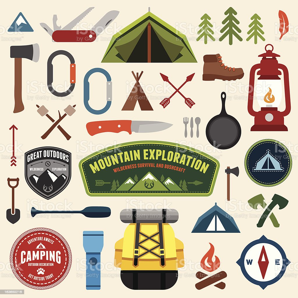 Camping symbols vector art illustration