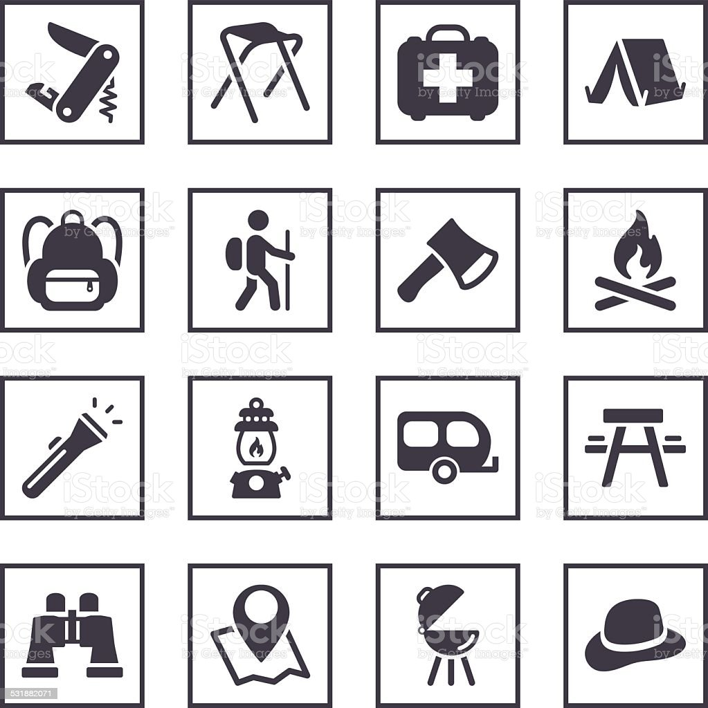 camping symbols stock vector art 531882071 istock