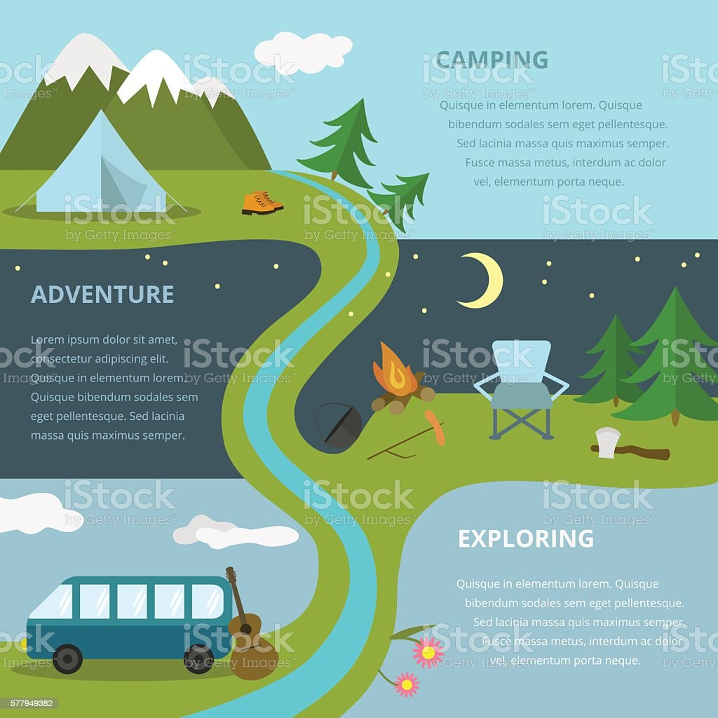 Camping template. vector art illustration