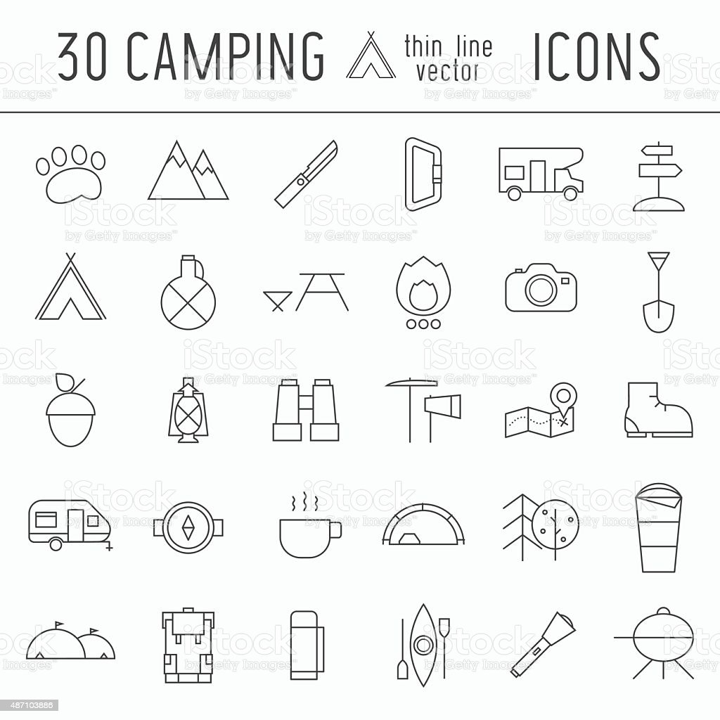 Camping Thin Line Icon Set of Adventure Elements vector art illustration
