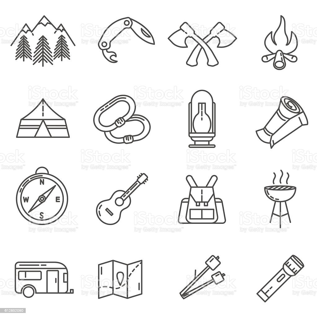 camping thin line icons set. Summer camping outdoors vector art illustration