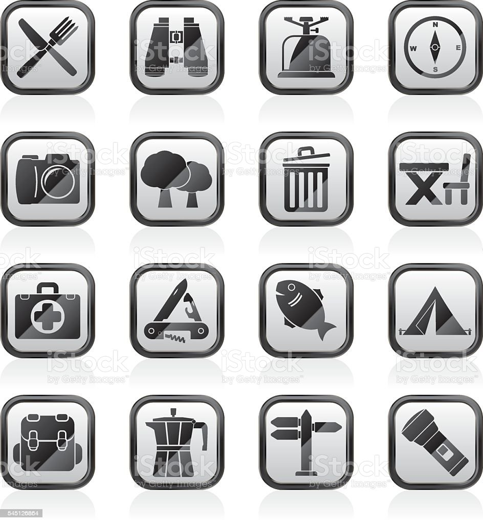 Camping, tourism and travel icons vector art illustration