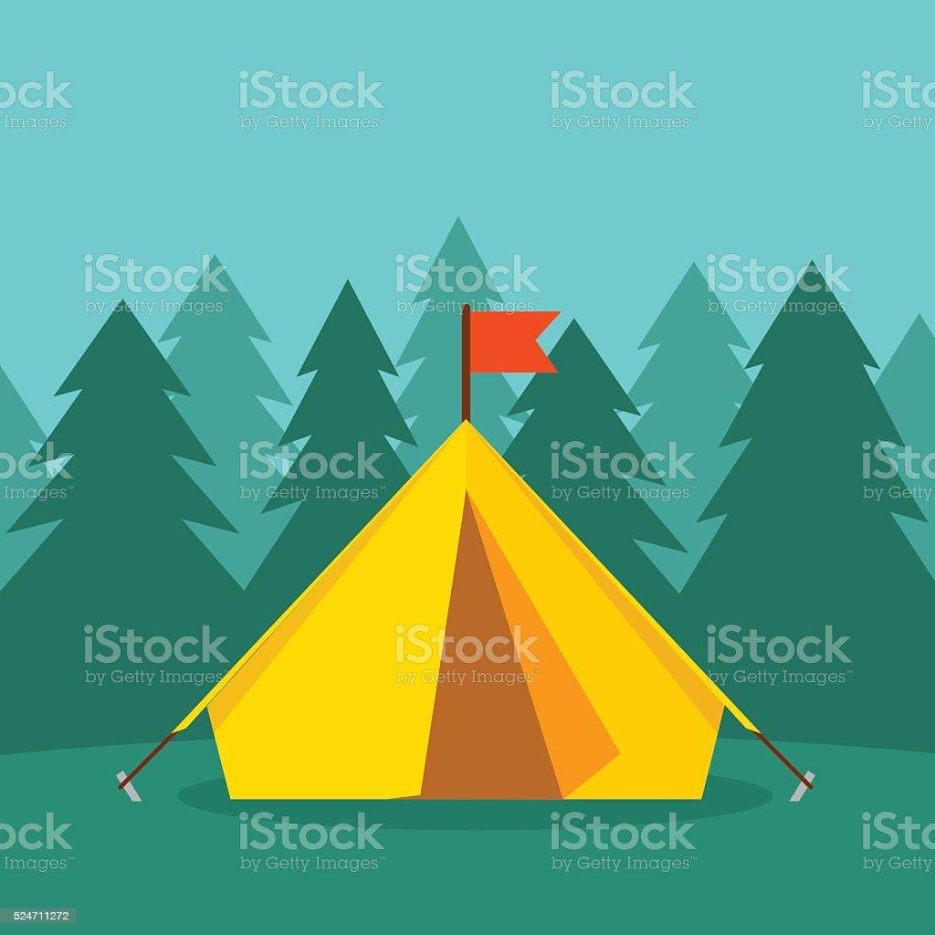 Camping tourist tent on forest landscape vector illustration vector art illustration