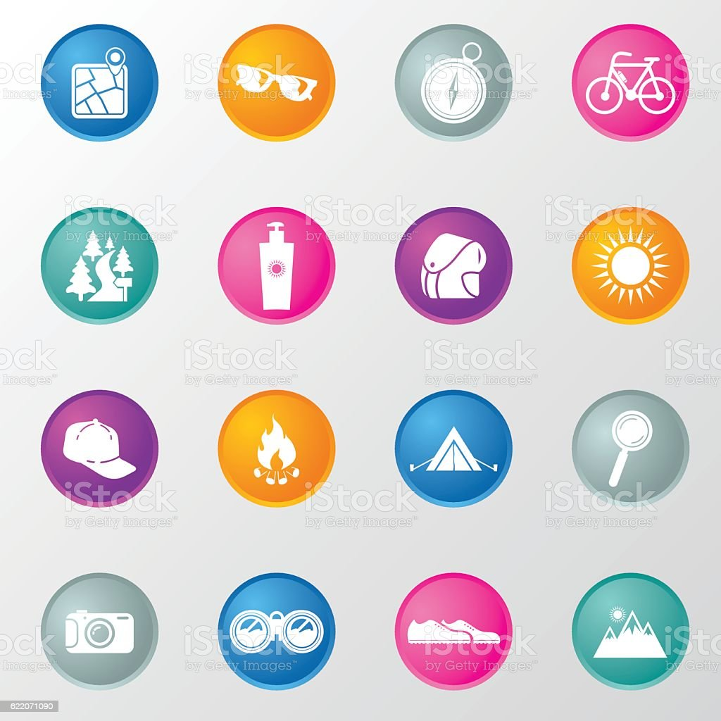 Camping Travel Circle Colours Icons vector art illustration