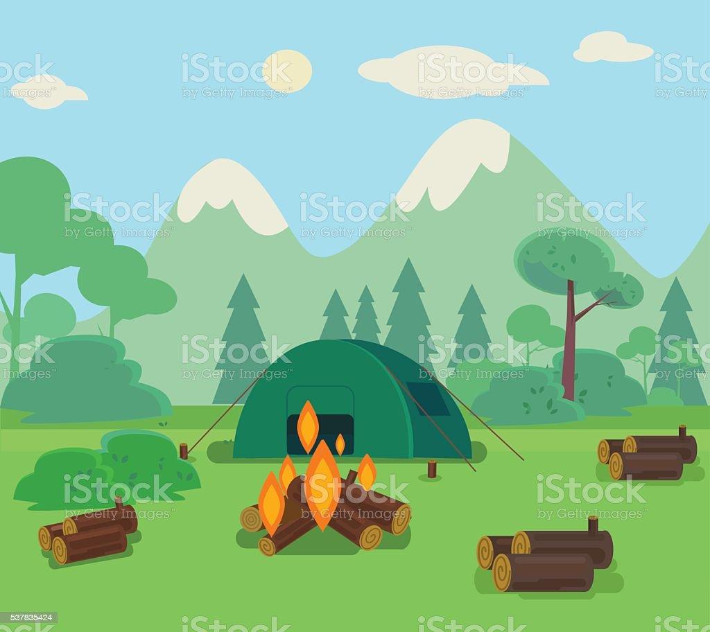 Camping travel flat cartoon illustration vector art illustration