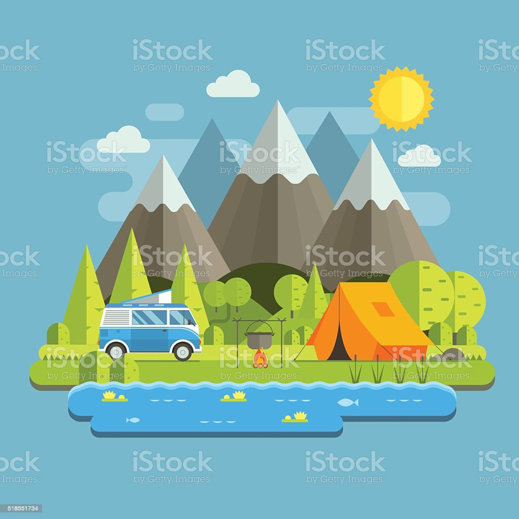 Campsite place in mountain lake area. Forest camping travel landscape...