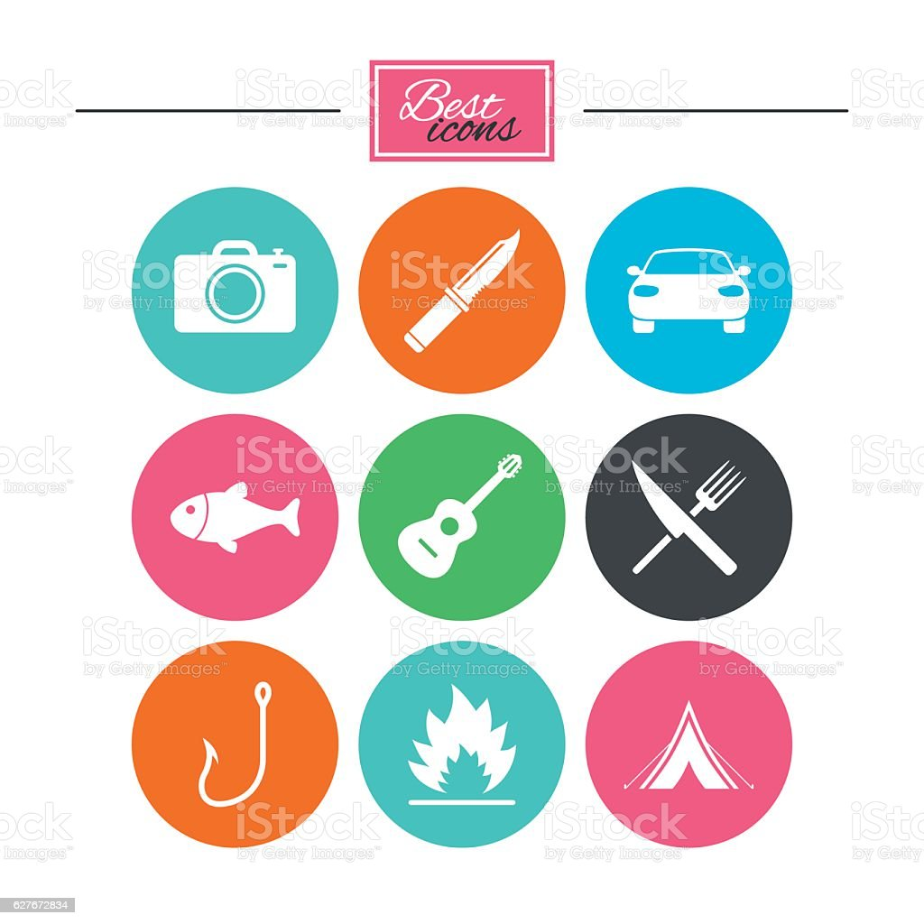 Camping travel icons. Fishing, tourist tent. vector art illustration