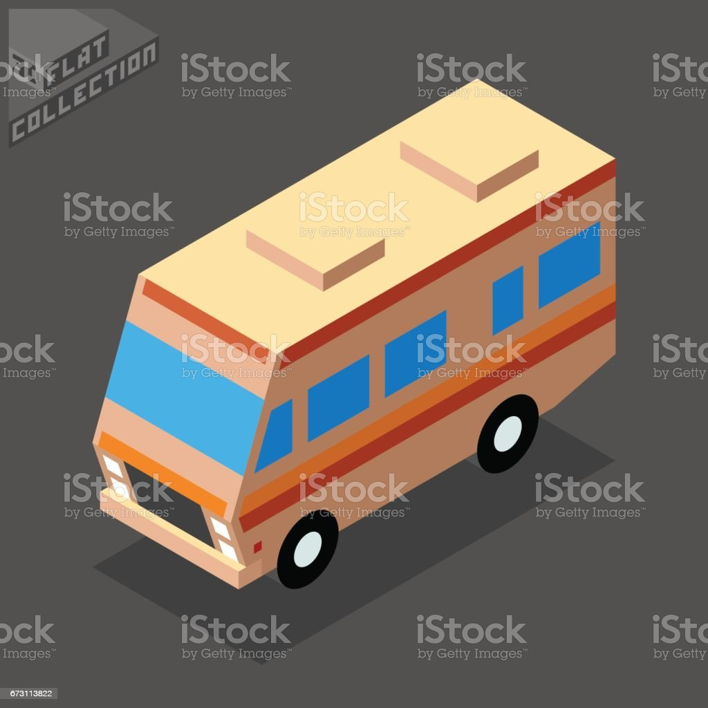 Camping Van Icon. 3D Isometric Low Poly Flat Design. vector art illustration