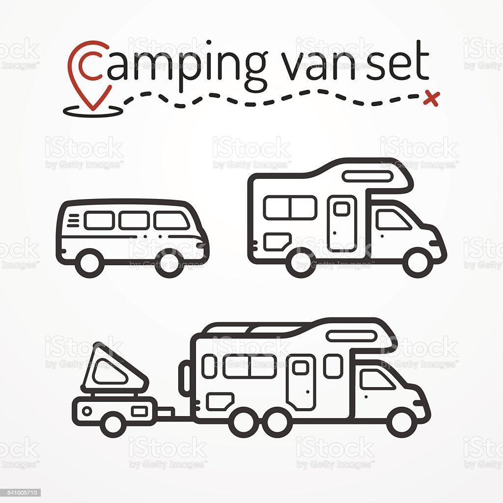 Camping van set vector art illustration